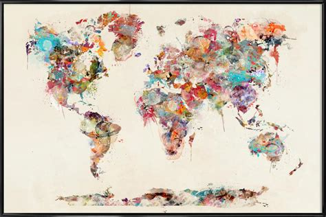 World Map Watercolor Poster in Standard Frame | JUNIQE