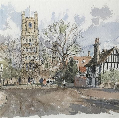 A Watercolour Painting of Ely Cathedral by Derek Abel 1925