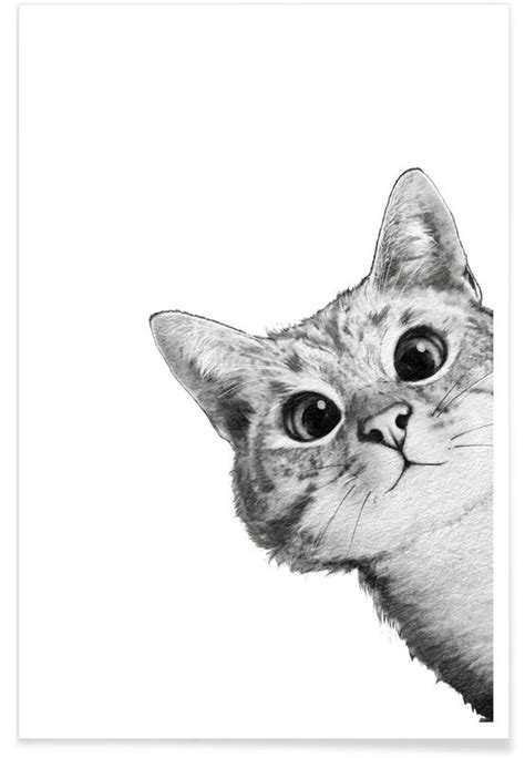 Sneaky Cat Illustration Poster | JUNIQE