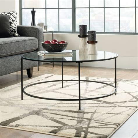 Round Contemporary Coffee Table in Black   Mathis Brothers