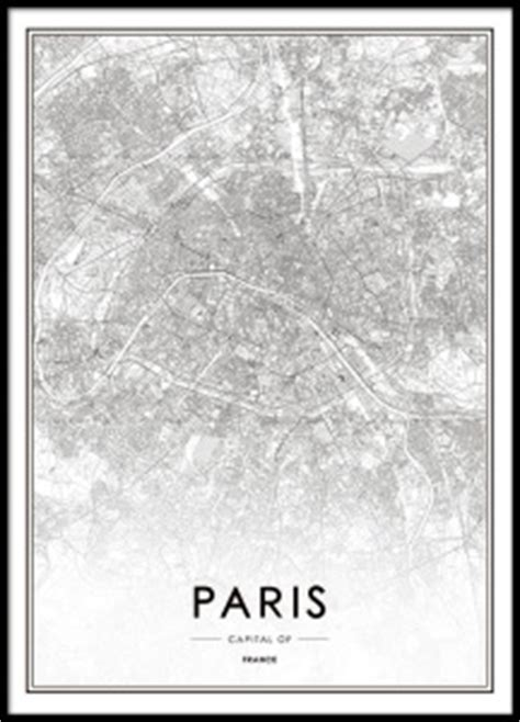 Print of Paris map | Black and white posters
