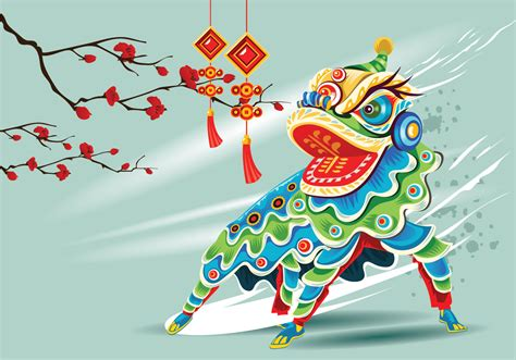 Chinesse Lion Dance Vector - Download Free Vectors