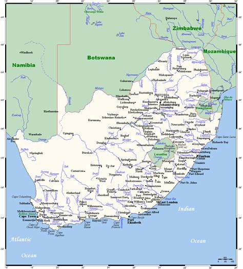 Map of South Africa with all cities