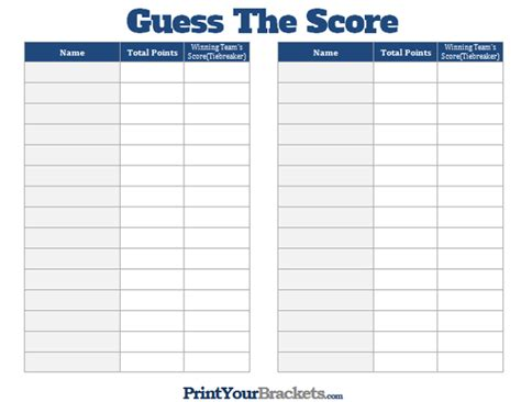 Printable Guess the Score Super Bowl Party Game