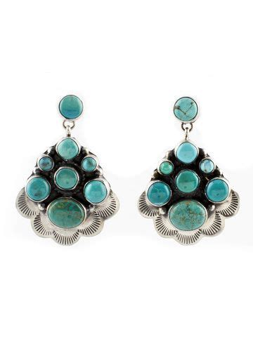 Navajo Carico Lake Turquoise Cluster Earrings | Cluster